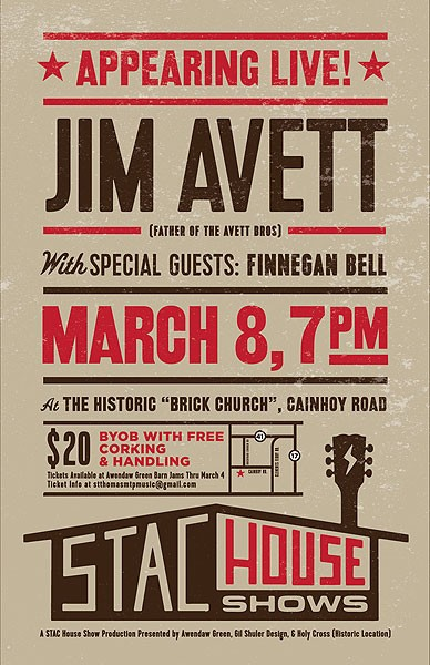 stac house shows jim avett poster